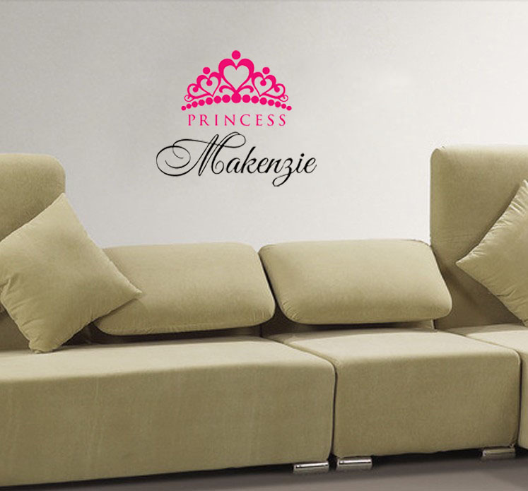 Personalized custom wall sticker girl name crown princess for Personalized home decor