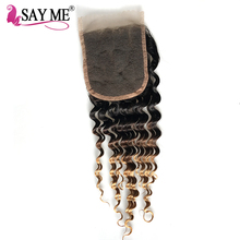 Buy SAY ME Ombre Brazilian Deep Wave Closure 3 Three Tone 1b/4/27 Blonde Free Part Non-Remy Colored Human Hair Lace Closure Piece for $32.54 in AliExpress store