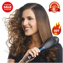 TV hot simply straight ceramic electric degital control antiscaled brush fast hair straightener brush comb irons lcd display(China (Mainland))