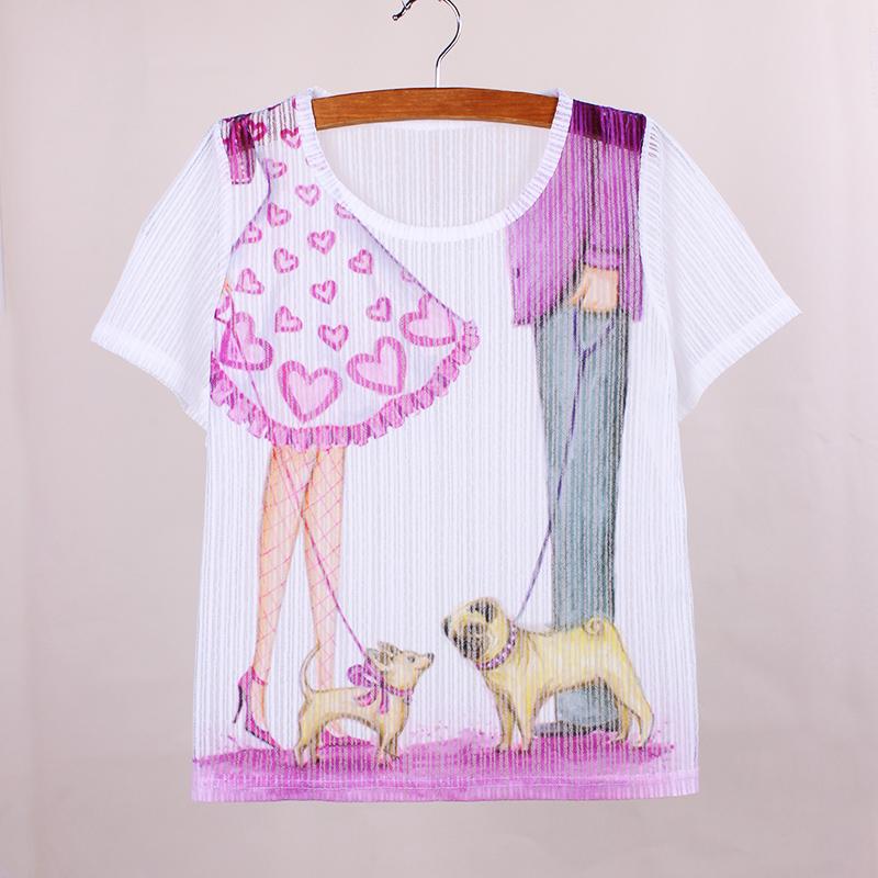 Novelty Purple Date Dogs print t shirt women America & Europe fashion ladies summer dress new fabric girls top tees best gift(China (Mainland))