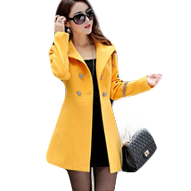winter wool coat women 2015 Style Long Section Woolen Overcoats Slim Was Thin Mandarin Collar Double Breasted Wool Coats   BG935
