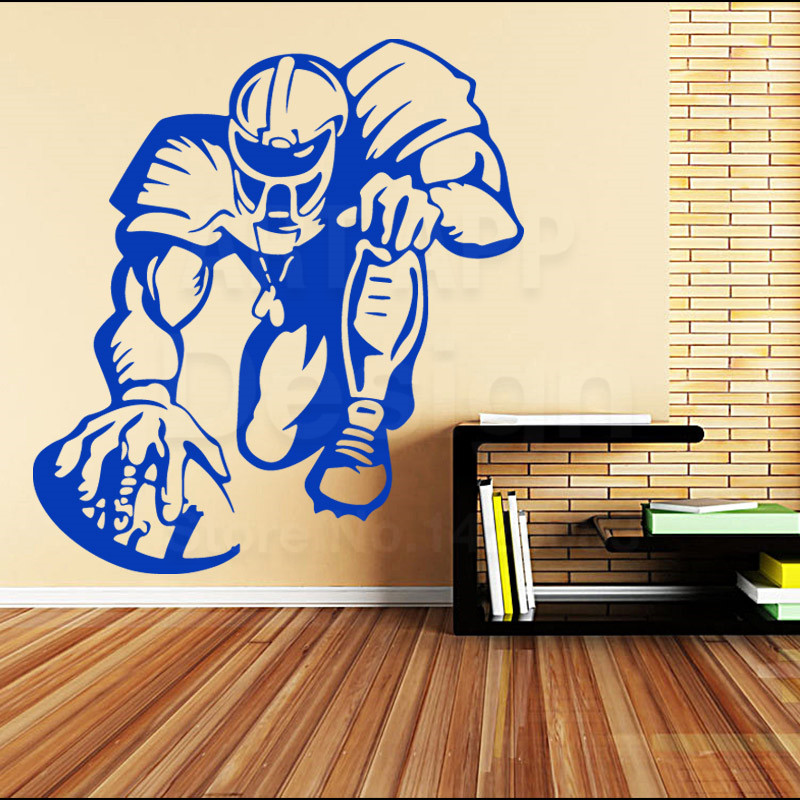 Art colorful Design house decor Vinyl Rugby Player Wall sticker home decoration cheap American football sports athlete decals(China (Mainland))