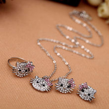 Clear Rhinestone Lovely Cat Ear Stud Earring Necklace Ring Shiny Crystal Cute Cat Stud Earrings Ring Necklace For Party Gift(China (Mainland))