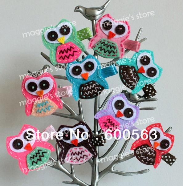 """2"""" handmade felt owl felt Hair Clips baby Hair Bows handmade felt clips headband 150pcs / lot no clip with"""