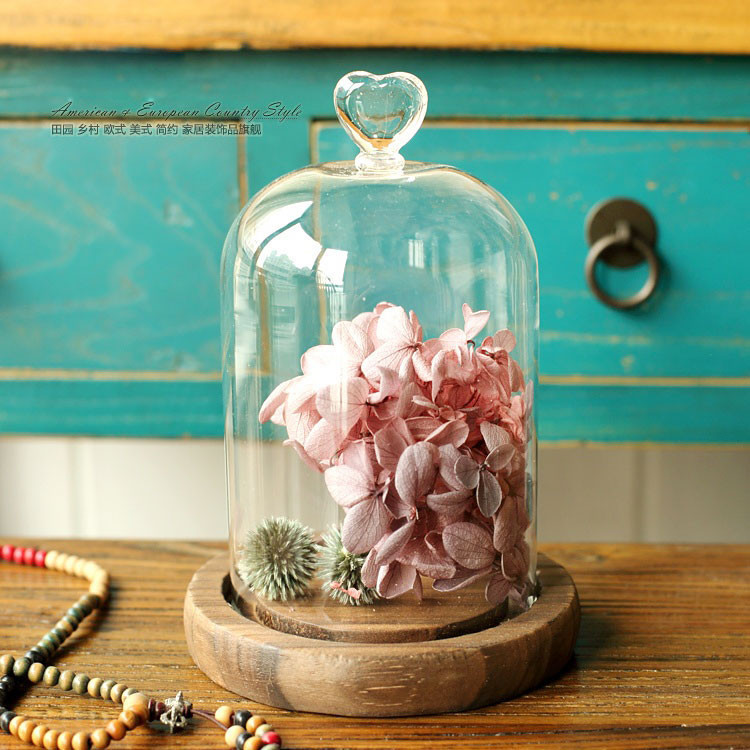 Immortal flowers cover dust cover creative glass landscape love cake cover micro landscape preserved flower vase glass(China (Mainland))