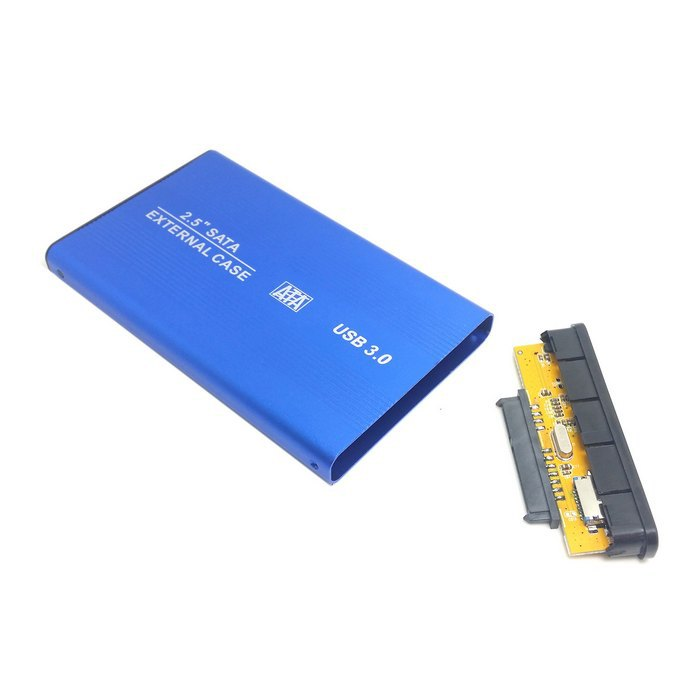 2.5 Inch Sata 22pin 7+15 SSD to USB 3.0 External Hard Disk Enclosure for Laptop & PC & Macbook with Cable Blue(China (Mainland))