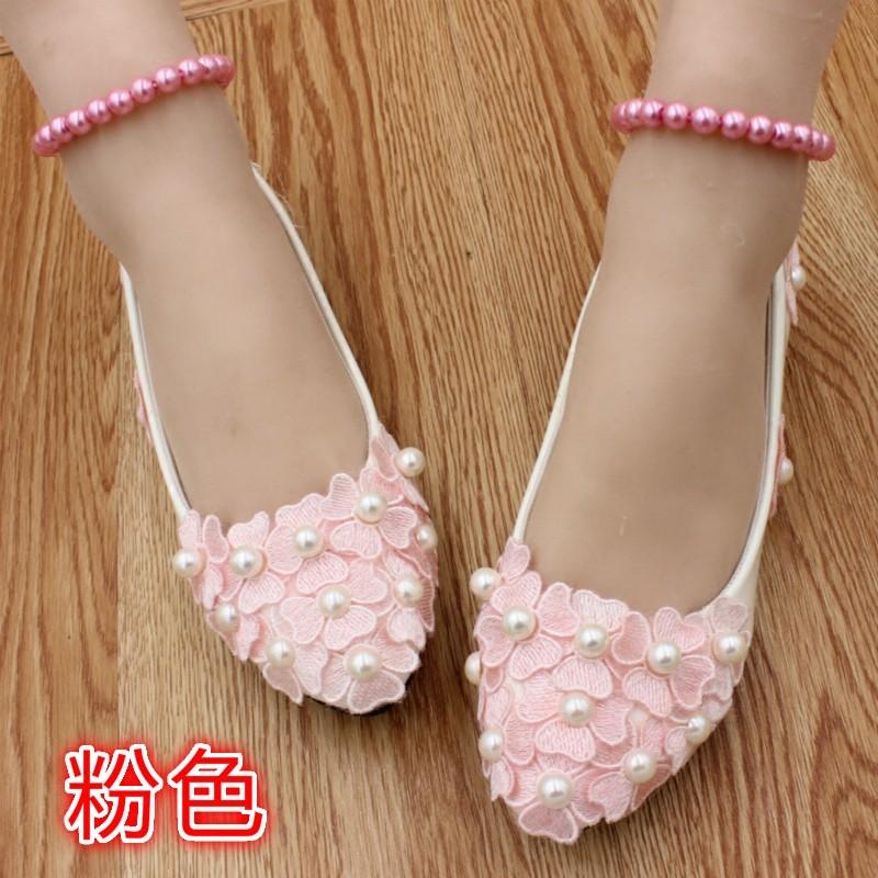 ซื้อ ผู้ใหญ่แฟลตรองเท้าแต่งงานลูกไม้บัลเล่ต์แฟลตรองเท้าผู้หญิงa ppliques