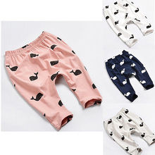 Toddler Baby Kids Girls Boys Pant Cute Whale Print 100% Cotton Pants Trousers Leggings Clothing 6M 12M 1 2 Years