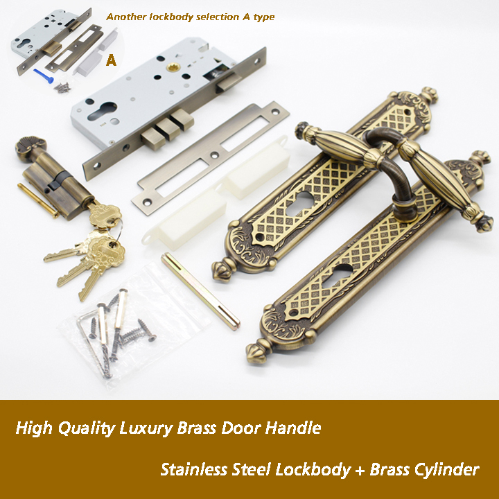 High Quality European Classical Design Solid Brass Door Handle Locksets<br><br>Aliexpress