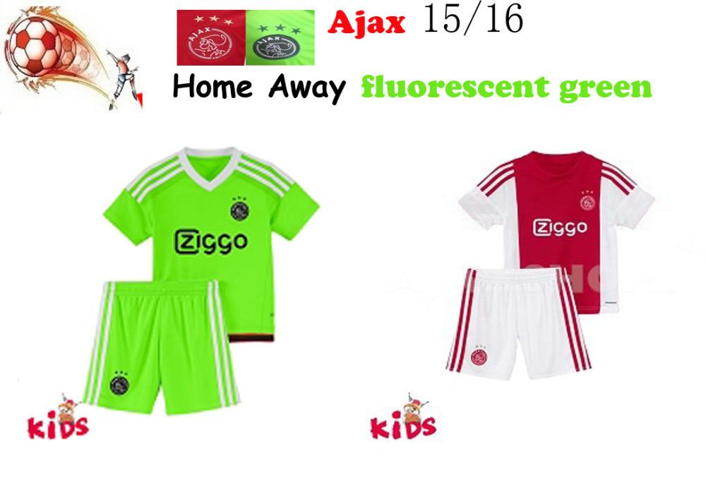 Hot 2016 AFC Ajax KIDS kit home red Away Fluorescent green Soccer Jersey 15 16 children's clothing ajax Ziggo SCHONE shirt 16-28(China (Mainland))