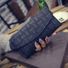 Woman Female Lady Girl Long PU Leather Purse Clutch Wallet Coinbag Portefeuille Plaid Fashion Designers Brand Luxury Famous Bag