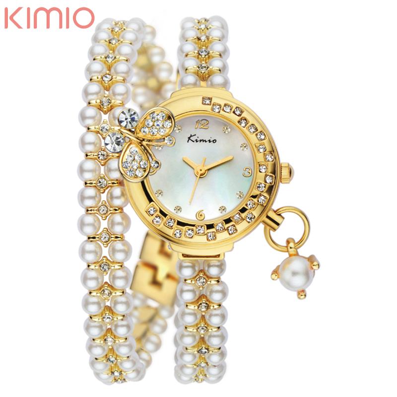 Luxury Gold Watches Women with Pearls Fashion Korean Style Original KIMIO Watch Women Bracelet Watches(China (Mainland))