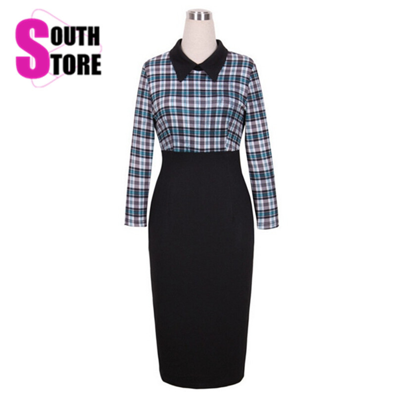2016 Top Quality Celebrity Victoria's Office Women Winter Bandage Dress Elegant Plaid Tunic Business Casual Pencil Party Dresses(China (Mainland))