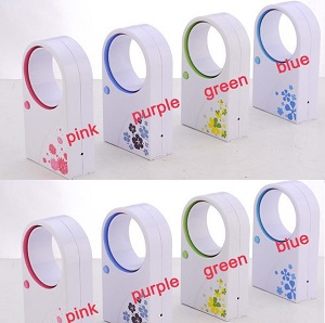 hot 72pcs/lots Mini Bladeless fan, delicate packing Hold USB no leaf air-condition, mix color shipment(China (Mainland))
