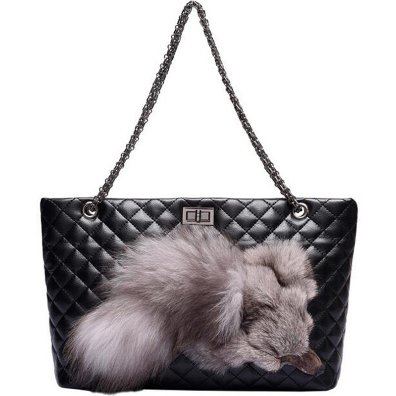 New Women handbags plaid fox shoulder bags for women bag messenger bags leather Crossbody bolsas femininas tote Bags QT2039
