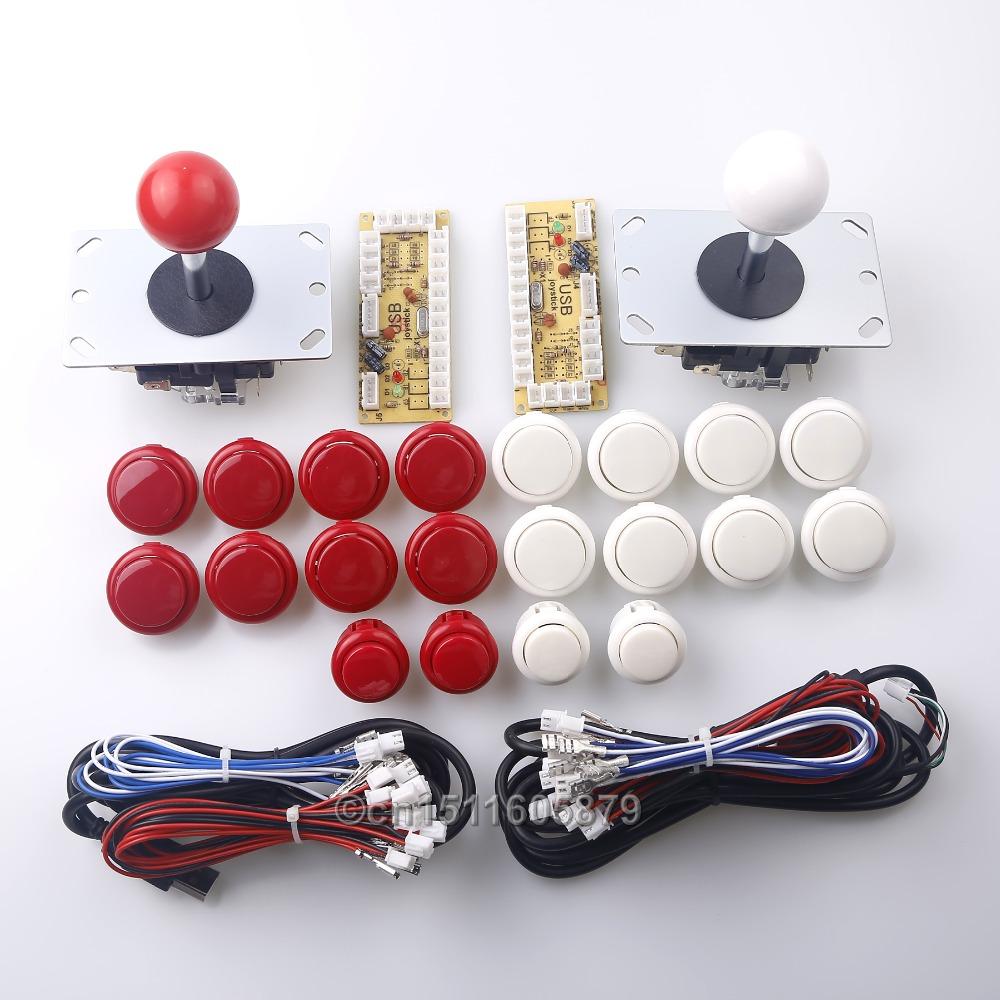 Фотография New Arcade DIY Kits Parts Zero Delay USB Encoder To PC Arcade 2 Pin 8 Way Joystick + 20 x Arcade Push Buttons Free Shipping