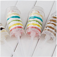 38PCS high quality Ice Cream Pop push Up Pop Containers push Cake Pop cake container for Party Decorations Heart and Round shape
