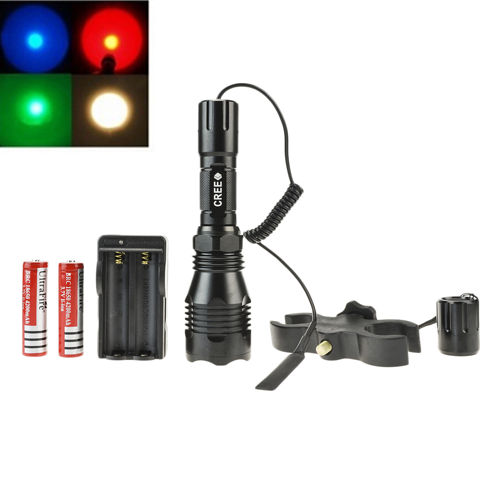 Cree XPE Green/ Red/ Blue Light Hunting Flashlight Torch Set With Tactical Switch +Gun Mount +Battery +Charger CrazyFire HS-802(Hong Kong)