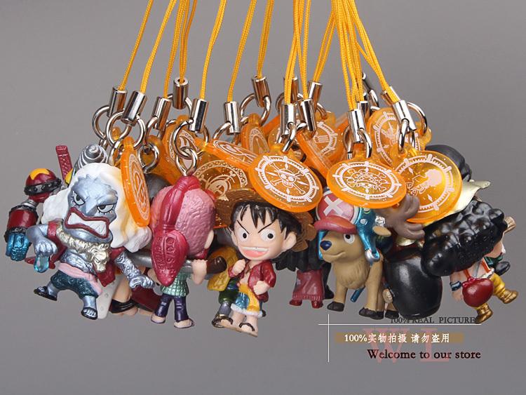 17pcs/set Anime One Piece Luufy Hody Jones Jinbe Arlong Rayleigh Robin Franky Zoro Mini Figures Toys Phone Rope Pendants OPFG321(China (Mainland))
