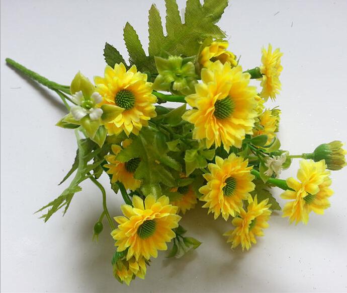 Wholesale Artificial Flower Heads Sunflower Cheap Wedding Flowers Decorative Fake Flowers Flower Shop(China (Mainland))