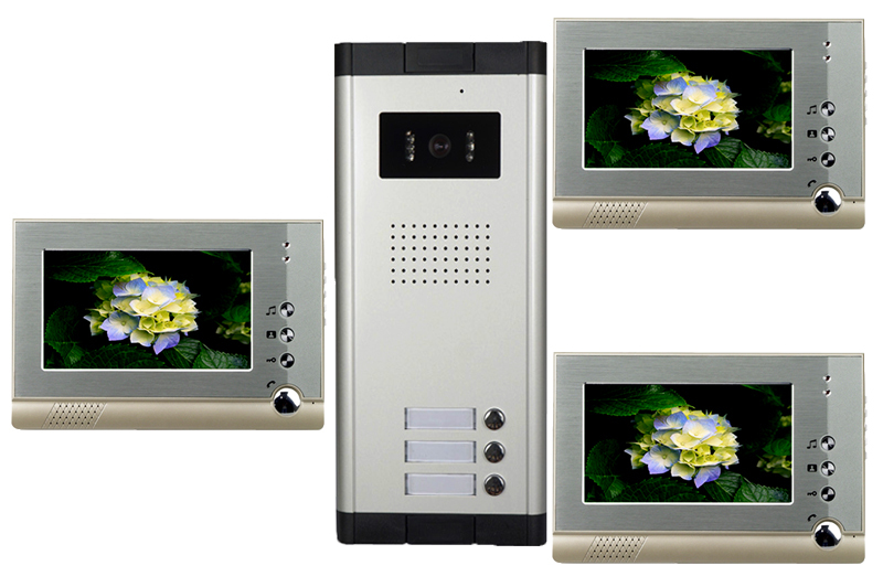 High Definition Wired Video Door Phone Intercom System for Multiply Layer Apartment One Camera+3 Monitors(China (Mainland))