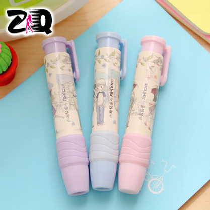2015 New Novelty Cute cartoon Automatic Rubber Eraser School Student Hand pressure type eraser Children's Prizes Gift Toy 230(China (Mainland))