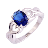 lingmei Wholesale Fashin Unisex Sapphire Quartz  Silver Ring Size 6 7 8 9 10 Charming Awesome Women Jewelry Free Shipping