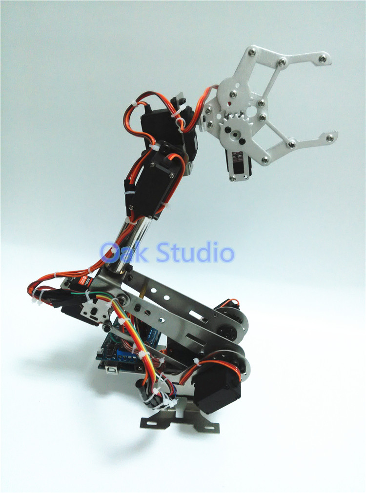 7 dof mechanical Aluminum alloy arm manipulator with CL-1 claw,robot chassis and servo for metal robot industrial design(China (Mainland))