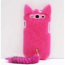 Plush Furry Red Black Cute Pussy Cat Tail Silicone Case Lint  Back Cases Cover for Samsung Galaxy S3 SIII i9300 1pcs/lot KDO(China (Mainland))