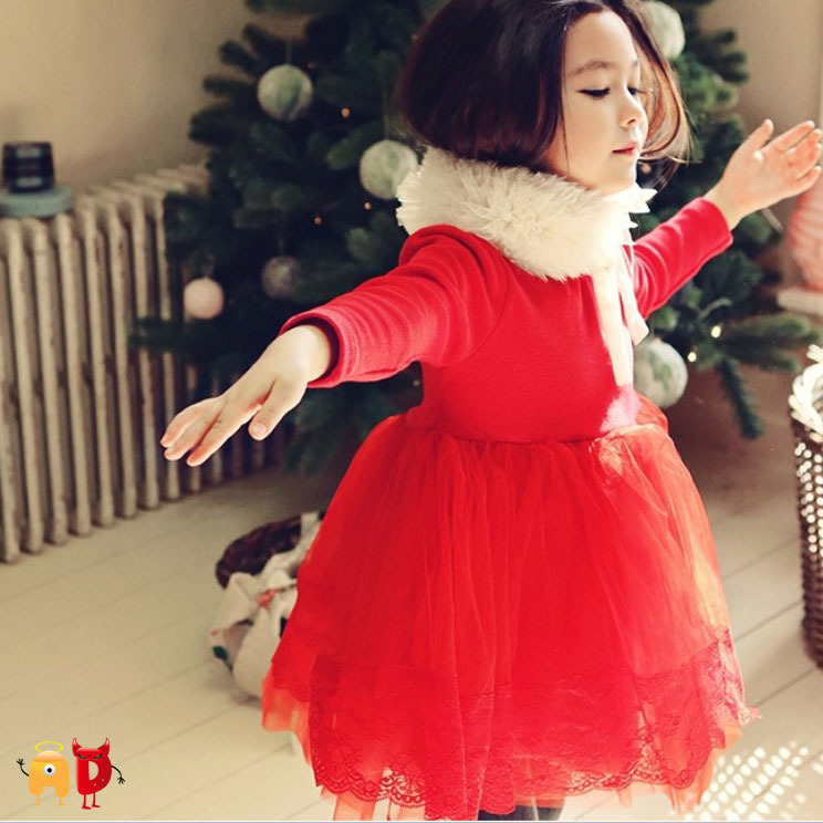 AD Children's Clothing Lovely Lady Ball Gown Turtle-neck Quality Autumn Winter Little Girl's Dresses 2-7 Years Old 2 Colors - Angel vs Devil store