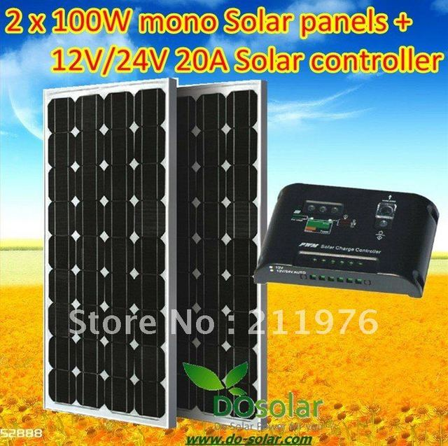 100W solar panel kit total 200W including 2 x MONO 100W solar panel+1 x 20A solar controller for 12V or 24V car battery in stock
