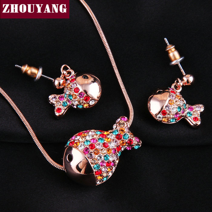 Top Quality ZYS012 Candy color clown fish 18K Gold Plated Lovely Style Jewelry Necklace Earring Set Made with Austrian Crystals(China (Mainland))