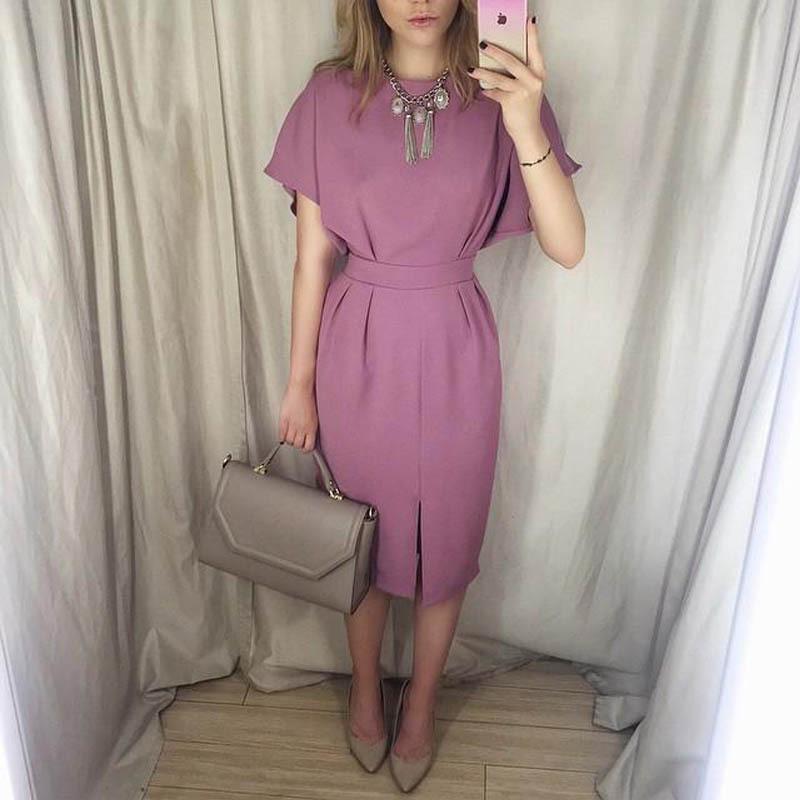 Elegant formal dress fashion o-neck short sleeve casual solid office lady knee-length dress 2015 new style(China (Mainland))