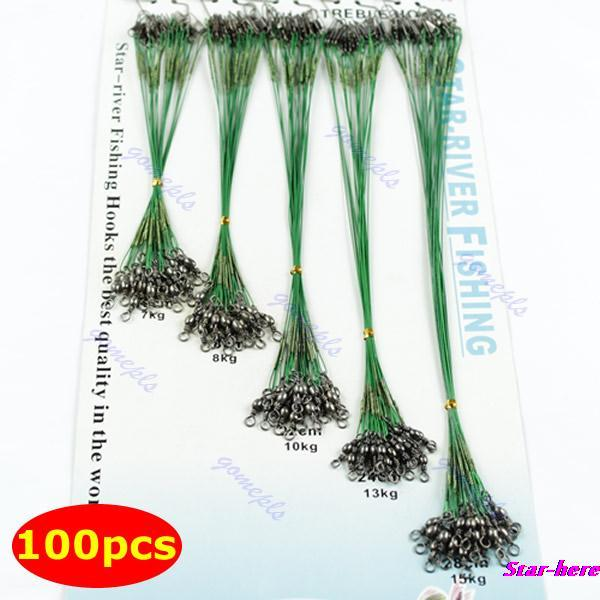 100pcs/set Fishing Trace Lures Leader Steel Wire Spinner 16/18/22/24/28cm Green(China (Mainland))