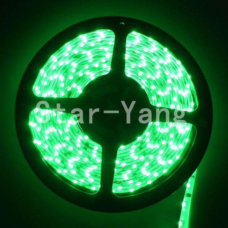 FREE shipping 5M 300 leds 335 Side Emitting LED Strip flexible green Light Waterproof 12V DC(China (Mainland))