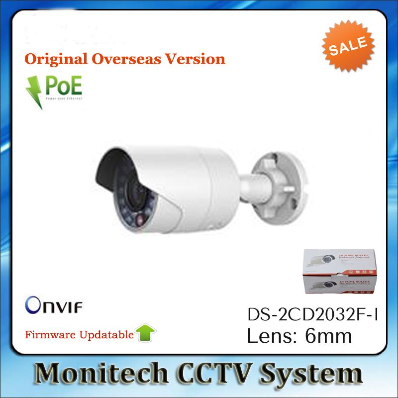 Original Overseas Version Updatable DS-2CD2032F-I Mini POE ONVIF 3MP 1080P IR Outdoor Bullet Network Security CCTV IP Camera(China (Mainland))