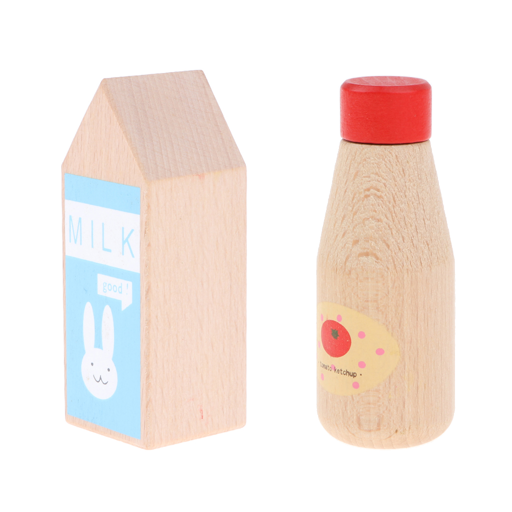 Pack of 2 Wooden Condiment Bottle Chef Role Play Tableware Toy for Kids - Ketchup Bottle & Milk Bottle
