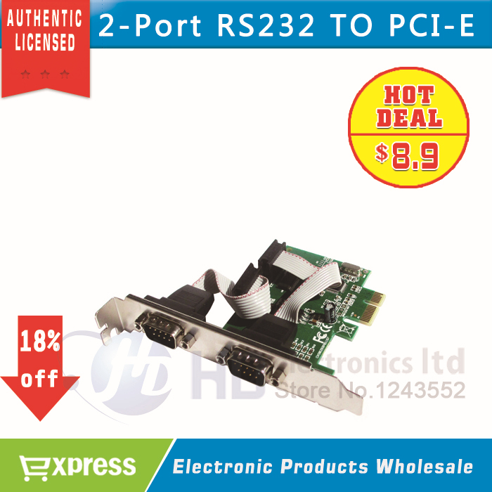 2 Port RS232 RS-232 Serial Port COM to PCI-E PCI Express Card Adapter Converter WCH CH382L(China (Mainland))