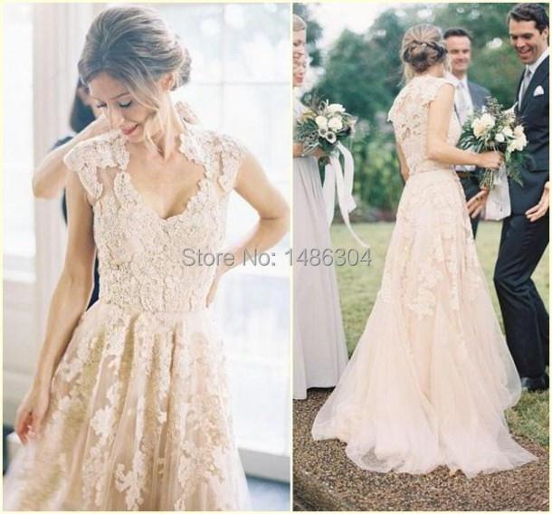 Модные Свадебные Платья Элегантные Robe Mariage Линии Кружева Милая Очаровательная 2016 Длинные Свадебные Платья x3113