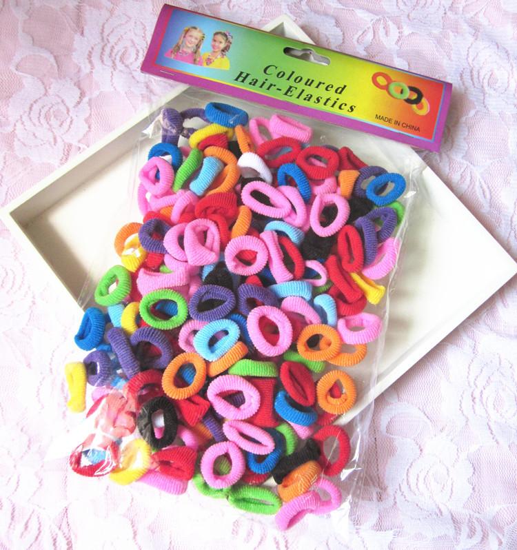 190 Pcs/ Pack Free Shipping Elastic candy Color Baby Girls' Towel Hair Ropes Kids' Hair bands(China (Mainland))