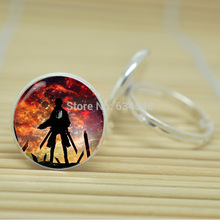 10pcs Attack on Titan jewelry glass Cabochon Adjustable Rings D4245