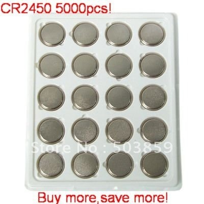 5000pcs x CR2450 DL2450 CR2450N ECR2450 BR2450 KCR2450 LM2450 Button Coin Cell Battery DHL Free shipping