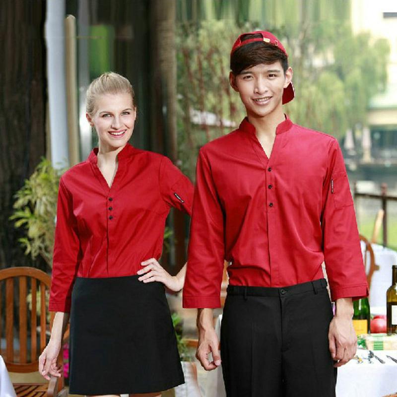 Wholesale Retail Checkedout Custom Logo Chef Uniform Men Women Polyester Cotton Waiter Uniforms S-2XL Free Shipping(China (Mainland))