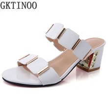 Buy Women Sandals Summer Lady Genuine Leather Slippers Shoes Women Thick Heels Sandals Fashion Rhinestone Slides Large Size 41 for $27.00 in AliExpress store