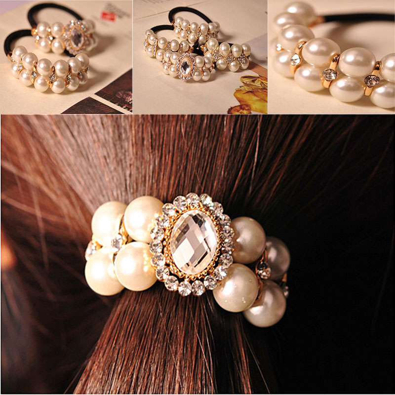 2015 Fashion women hair accessories girl headbands hair band head band pearl hair clip(China (Mainland))
