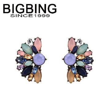 Bigbing ювелирные изделия мода красочные кристалл серьги серьги мотаться серьги высокое качество никель бесплатно Q686