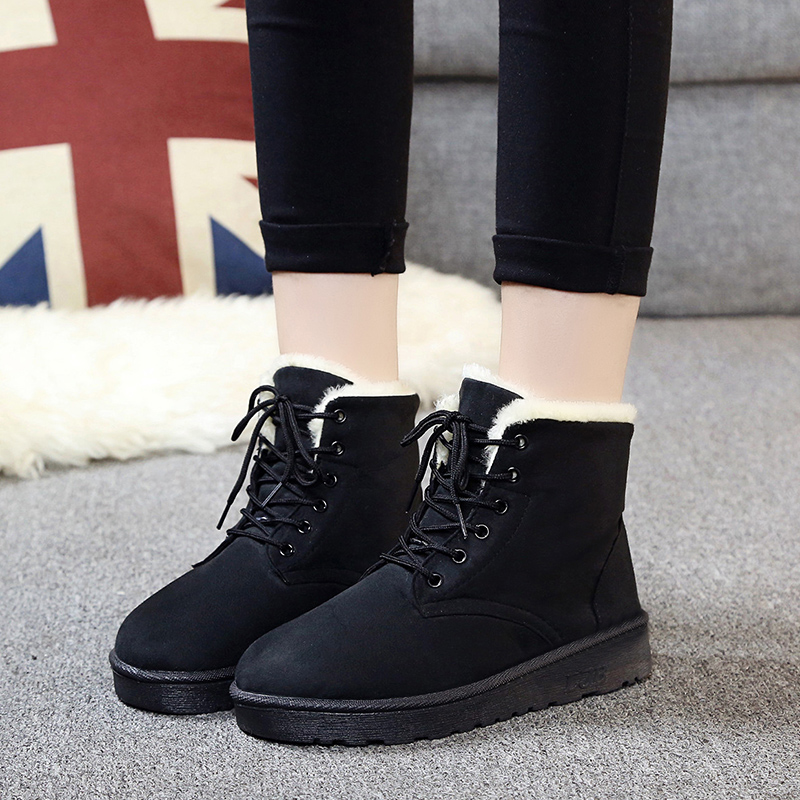 Top Quality 2016 Women Boots Winter Casual Brand Warm Women Shoes Boots Leather Plush Fur Fashion Boots Shoes Woman Fur Boot(China (Mainland))