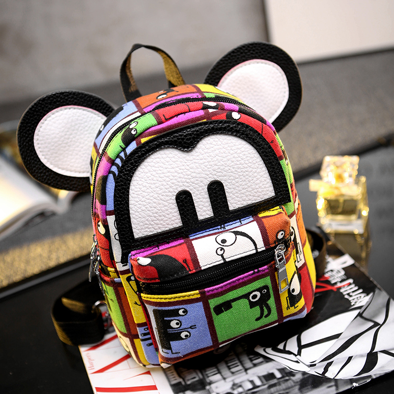 Women Mini Backpack Cute Mouse Ears Leather Small Rucksack Laptop Bag Back Pack Shoulder Straps For Teenage Girls/Kids(China (Mainland))