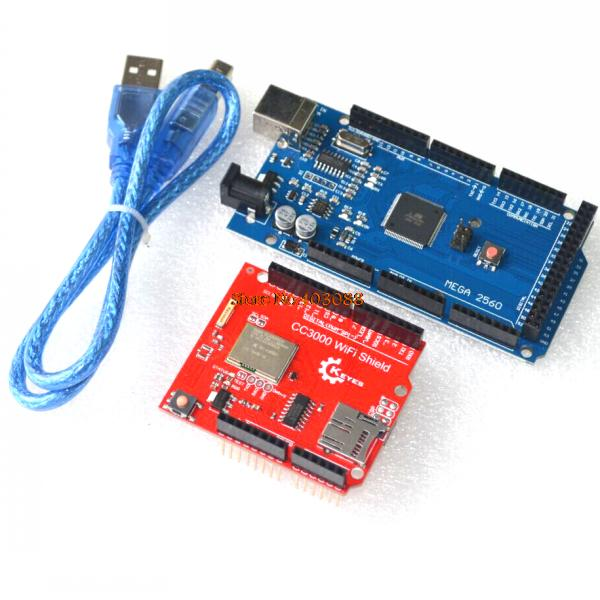 Free Shipping TI CC3000 Wifi for Arduino development expansion wireless shield+ Mega 2560 R3 REV3 ATmega2560-16AU with usb cable(China (Mainland))