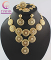 Free Shipping Wholesale Retail Dubai African Chunky Gold Plated Crystal Necklace Jewelry Sets WB 1100